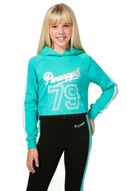 PINEAPPLE DANCEWEAR Girls Mesh Stripe Crop Dance Hoodie Mint Green Silver Logo